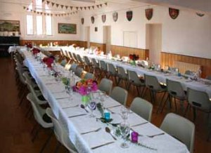 hall set for a wedding breakfast
