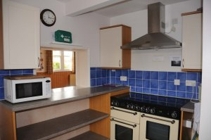 kitchen showing large cooker and microwave